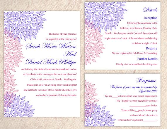 Elegant Pink Purple Damask Pocket Wedding Invite Iwgy045