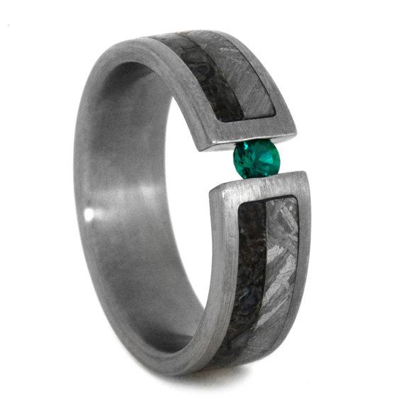 Emerald Wedding Band Or Mens Engagement Ring Titanium
