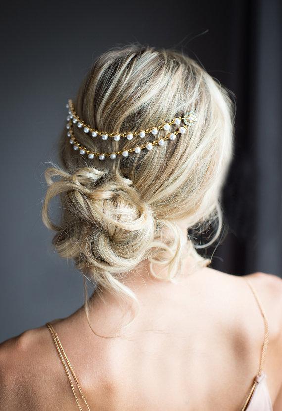 gold pearl bridal hair chain wedding hair wrap pearl grecian headpiece gold draped hair comb gold wedding hair comb leia