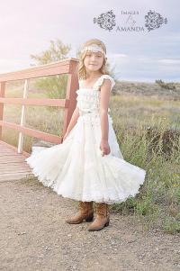 Lace Flower Girl Dress - Rustic Flower Girl Dress - Flower ...