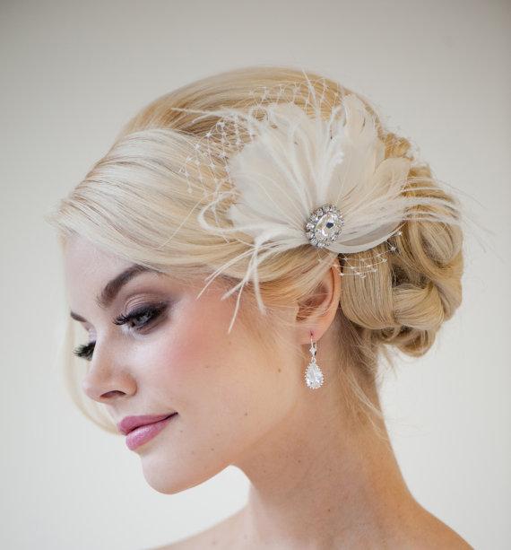bridal fascinator feather wedding head piece feather fascinator bridal hair accessories chloe