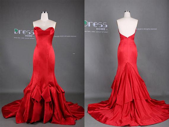 2015 Red Sweetheart Long Mermaid Prom Dress/Mermaid
