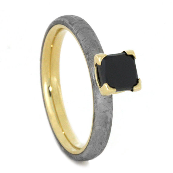 Princess Cut Black Diamond Engagement Ring 14k Yellow