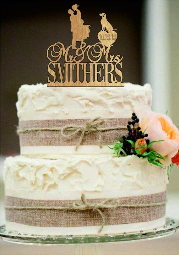 personalized rustic silhouette of love wedding cake topper