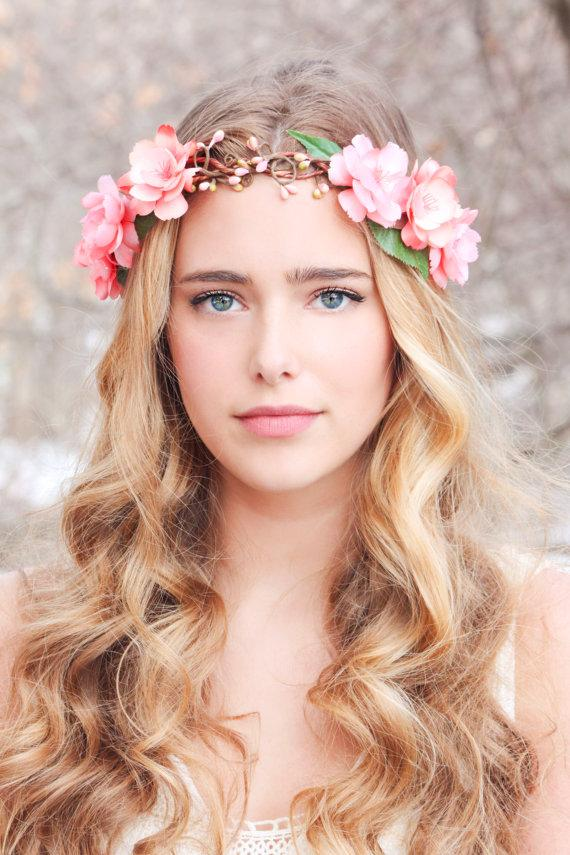 peachy floral hair crown