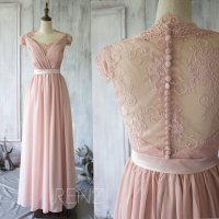 2015 Blush Lace Bridesmaid Dress With Sleeves, Dusty Pink ...