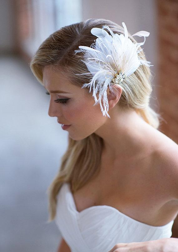 ivory bridal hair clip champagne feather wedding headpiece bridal hair accessories feather hair clip silver gold crystal hair piece