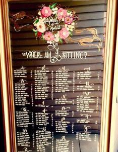 Wedding mirror seating chart leaning floor program timeline menu signage hand painted with calligraphy also rh weddbook