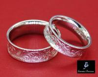 Flower Ornate Hand Engraved Wedding Band Set, Antique ...