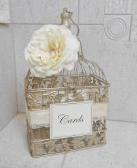 Small Champagne Gold Wedding Birdcage Card Holder ...