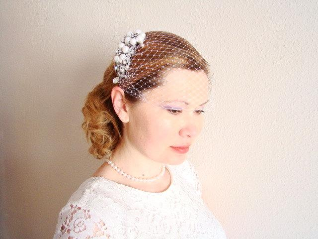 white birdcage veil comb blusher bridal veil french netting bridal headpiece pearl bridal hair comb fascinator hair accessories emily