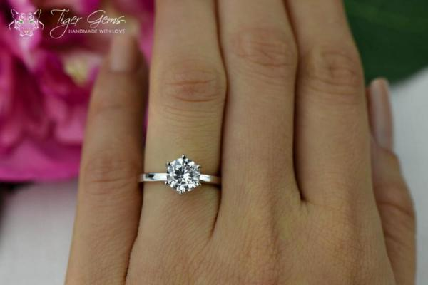 15 Carat 6 Prong Solitaire Engagement Ring Round Cut