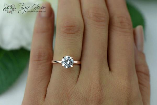 15 Carat Engagement Ring Rose Solitaire Ring Man Made