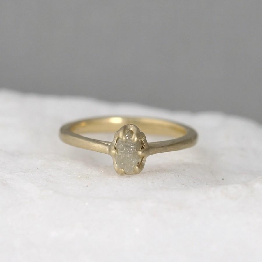 14K Yellow Gold And Raw Diamond Ring