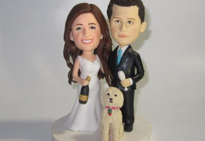 Custom Wedding Cake Topper With Dogs Personalized Cake Topper
