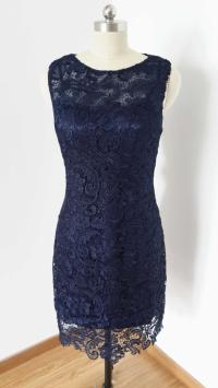 2015 Sheath Navy Blue Lace Short Bridesmaid Dress #2400733 ...