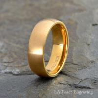 Mens Titanium Wedding Band, Yellow Gold Plated Brushed ...