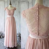 2015 Blush Lace Bridesmaid Dress, Cap Sleeves Dusty Pink ...
