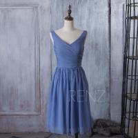 2015 Slate Blue Bridesmaid Dress, Tea Length Wedding Dress ...