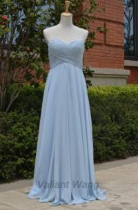 Light/Grey Blue Chiffon Sweethearts Bridesmaid Dress Long