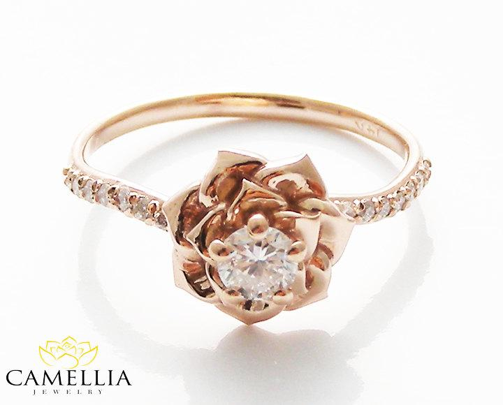 14K Rose Gold Diamond Engagement Ring By Camellia Jewelry