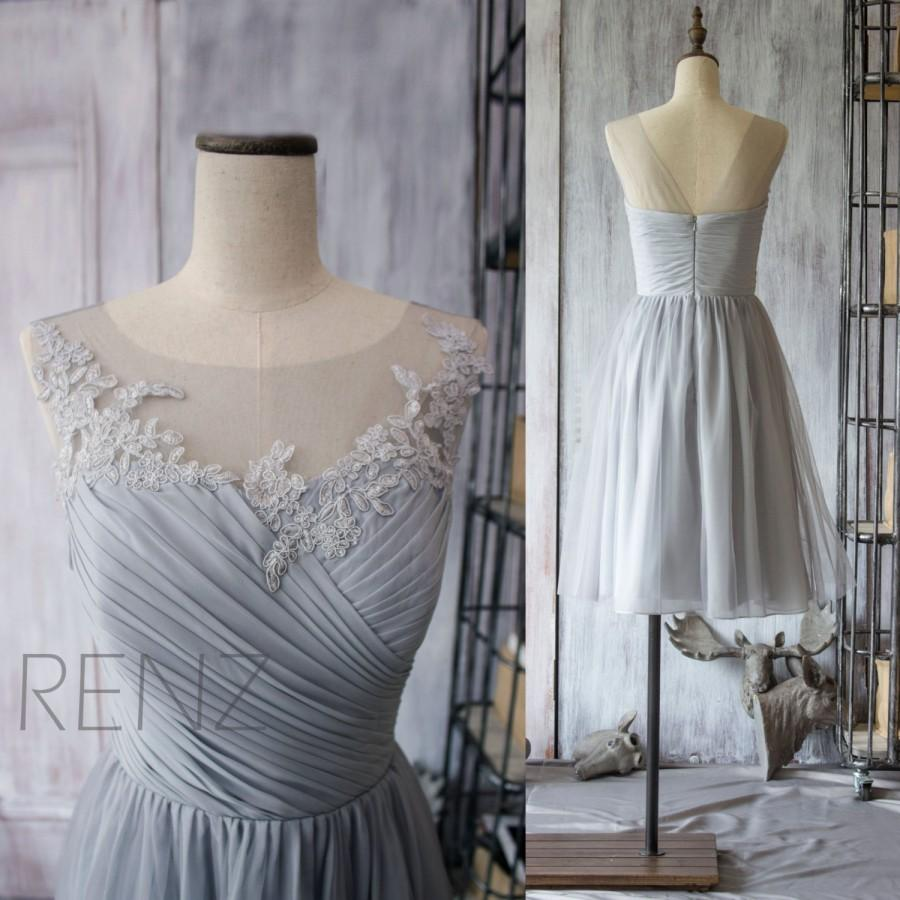 2015 Grey Bridesmaid Dress, Chiffon Cocktail Dress, A Line