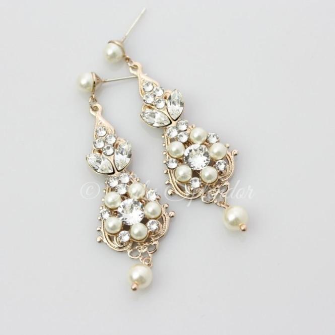 Rose Gold Bridal Earrings Chandelier Vintage Wedding Pearl Crystal Jewelry Paris