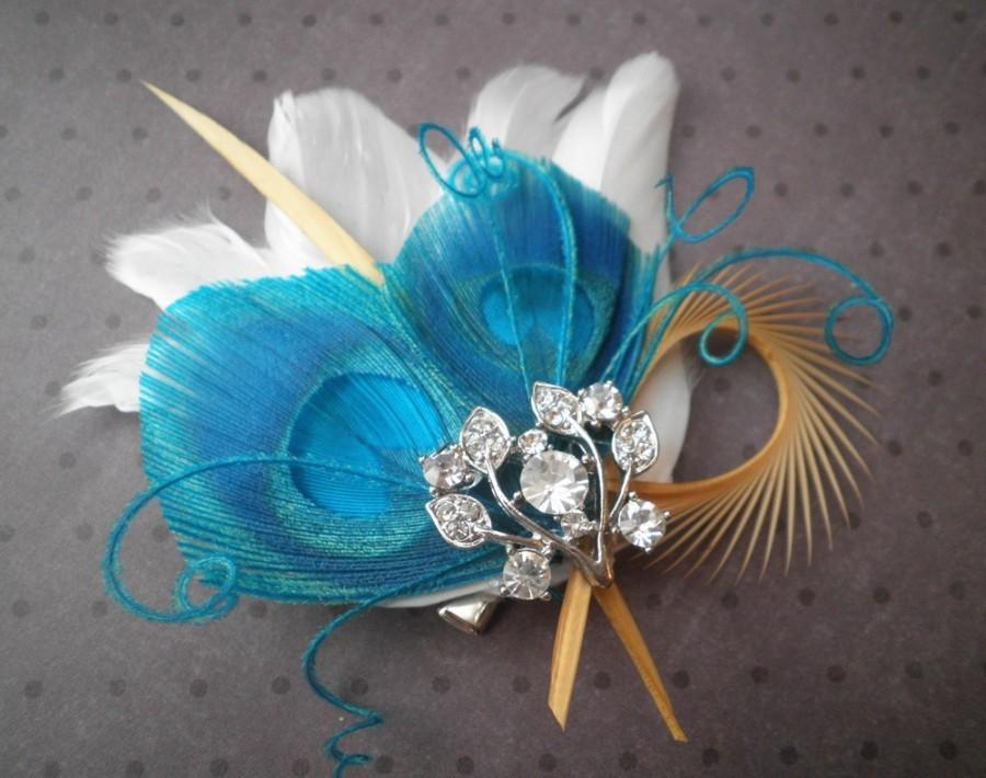 bridal feather fascinator peacock feather hair clip feather hair piece wedding hair accessory blue teal turqouise teal palms