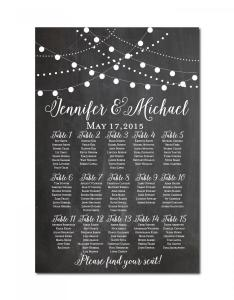 Wedding seating chart chalkboard string lights printable plan table sign also rh weddbook
