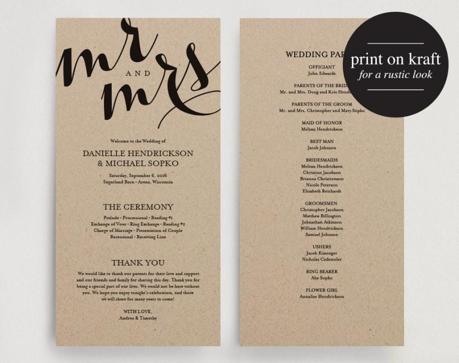 Wedding Program Printable Template  Printable Program
