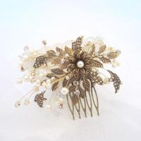 Antique Brass Bridal Hair Comb, Wedding Headpiece, Leaf ...