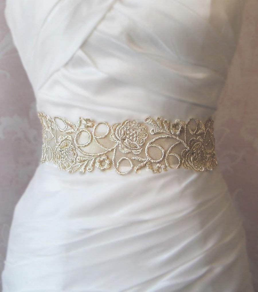 Champagne Gold Lace Bridal Sash Wedding Gown Sash Beaded