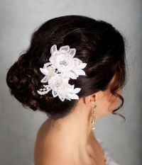 Ivory Hair Flowers, Lace Headpiece, Bridal Hair Flowers ...