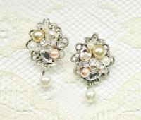 Champagne & Blush Earrings- Pearls And Rhinestone Earrings ...