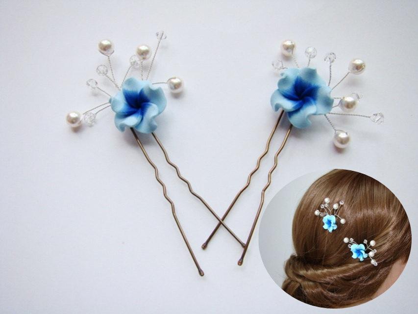 blue headpiece blue hair pins bridesmaid hair blue hair accessories blue hair pin set of 2 blue red green purple pink flower