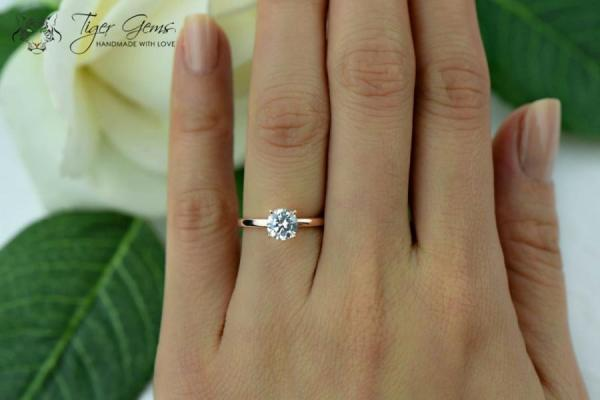 1 Carat 4 Prong Engagement Ring ROSE Solitaire Ring Man