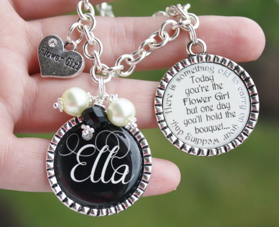 Personalized Flower Girl Gift Charm Bracelet Unique