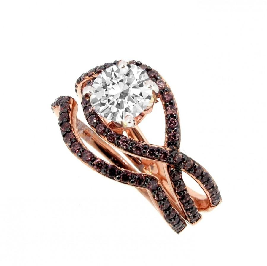 Unique Infinity Engagement And Wedding Ring Set, Rose Gold