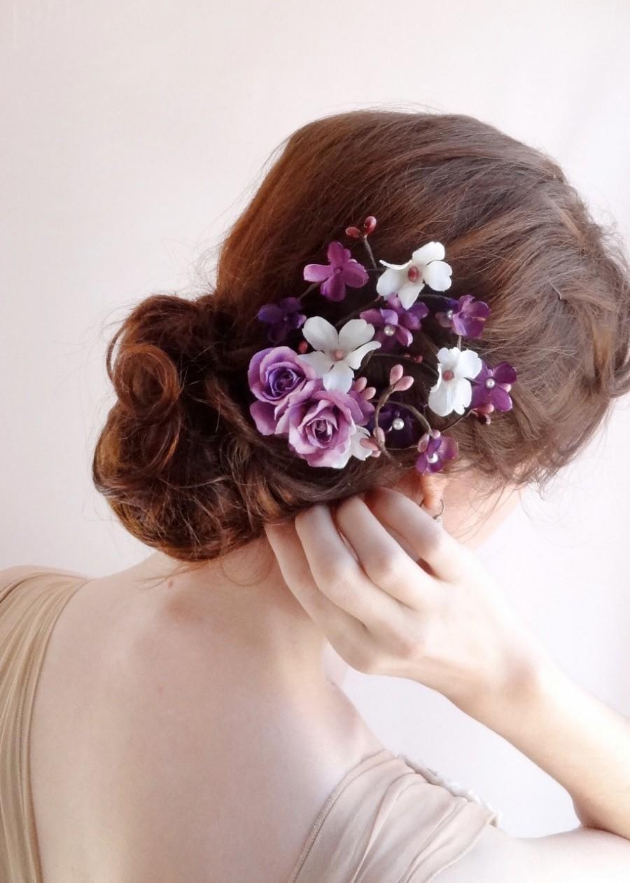 purple wedding hair accessories bridal hair clip floral hair comb lavender hairpiece purple headpiece prom hair accessory hair vine