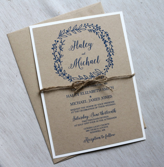 Rustic Wedding Invitation Modern Kraft