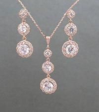 Rose Gold Bridal Jewelry, Rose Gold Necklace, Rose Gold
