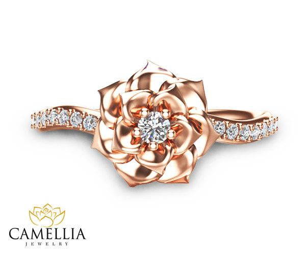 Camellia Flower Ring 14K Rose Gold Diamond Ring Rose Gold