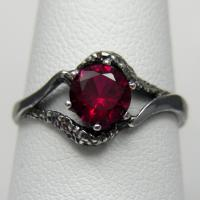 3 DAY SALE Red And Black Engagement Ring #2417297 - Weddbook