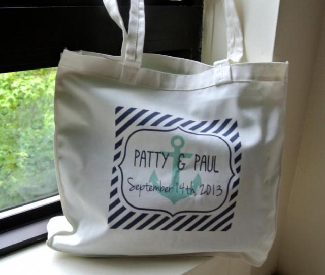 Personalized Nautical Beach Wedding Tote Bags Wedding Welcome Bags Nautical Bag Bridesmaid Gift Destination Wedding