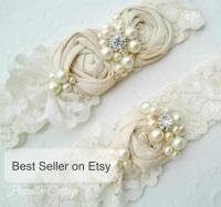 Ivory Wedding Garter Set, Dupioni Silk Rosettes, Heirloom ...