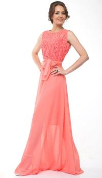 Bridesmaid Dress Lace Chiffon Long Dress Wedding Coral
