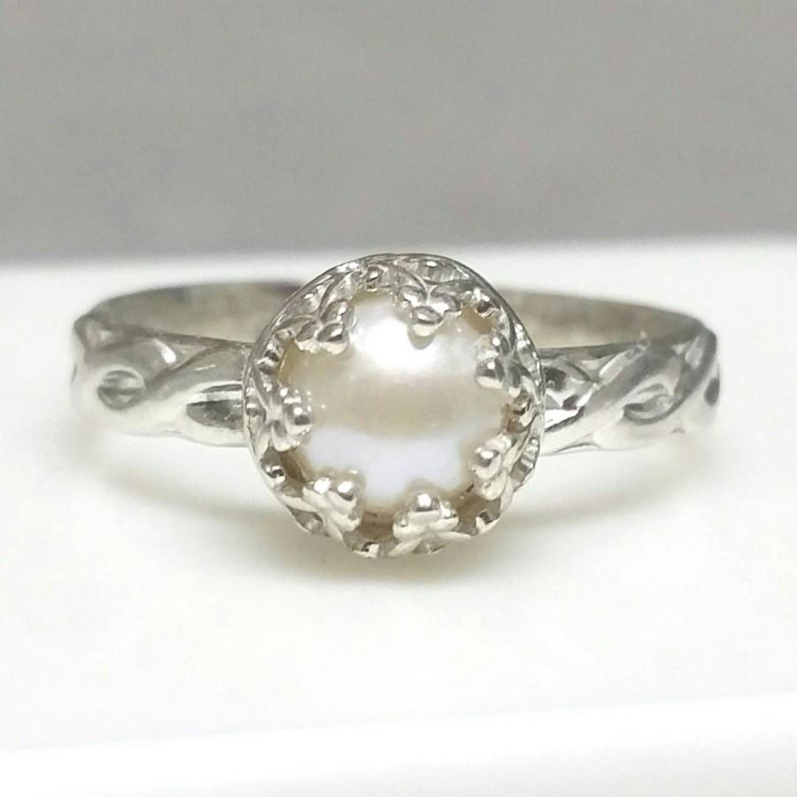 Pearl Ring Sterling Silver Pearl Ring Celtic Band Non Traditional Engagement Ring Crown Ring