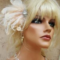 Hair Fascinator Wedding, Bridal Hair Clip, Feather Hair