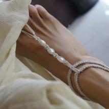 Beach Wedding Barefoot Sandals Pearl & Rhinestone