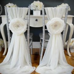 Chair Accessories For Weddings Baby Bounce 2 Wedding Large Chiffon Fabric Flower Cover Sweetheart Table